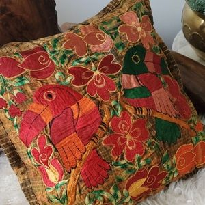 Guatemalan pillow with birds